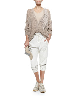Chain and Jute Baseball Cap, Open-Weave Cardigan W/ Fringe Accent & Pull-On Napa Leather Pants