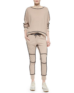 Cashmere Contrast-Piped Sweatshirt & Sweatpants, Peanut