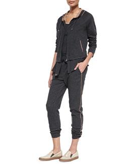 Jersey Shimmer-Trimmed Zip-Front Hoodie & Sweatpants, Volcano