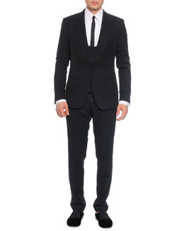 3-Piece Shawl-Collar Suit, Tie & Shirt