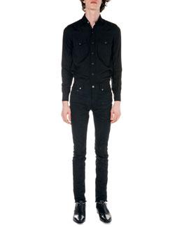 Western Long-Sleeve Shirt & Frayed Hem Skinny Jeans