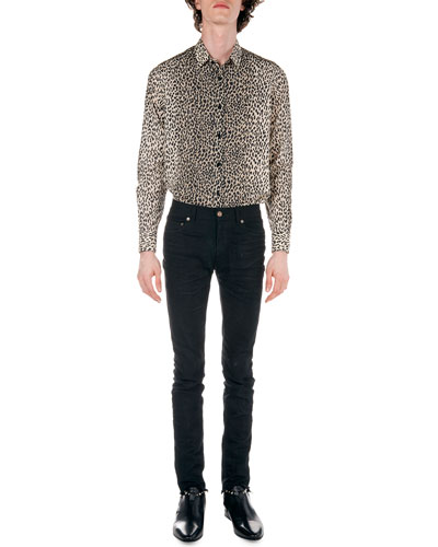 Leopard-Print Long-Sleeve Shirt & Frayed Hem Skinny Jeans