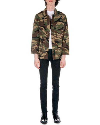Camo-Print Field Jacket, X-Print Tee & Frayed Hem Skinny Jeans