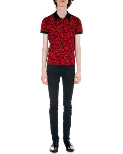 Leopard-Print Polo & Frayed Hem Skinny Jeans