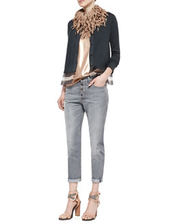 Jersey Striped Gauze-Inset Cardigan, Lamé Scoop-Neck Tank & Button-Fly Jeans w/ Rolled Cuffs