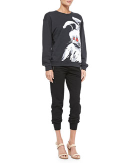 Angry Bunny Sweatshirt & Jersey Zip-Pocket Ankle Pants