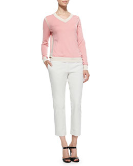 Two-Tone V-Neck Cashmere Sweater & Queen Gabardine Straight-Leg Pants