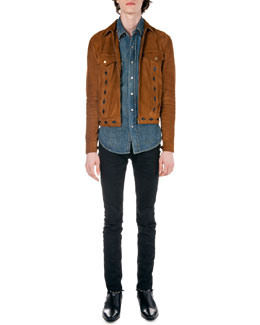Diamond-Cutout Suede Jacket, Denim Sleeveless Jacket with Paisley-Yoke & Frayed Hem Skinny Jeans
