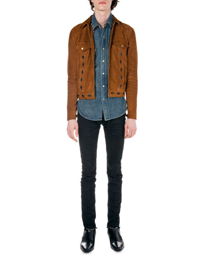 Diamond-Cutout Suede Jacket, Denim Sleeveless Jacket with Paisley-Yoke & Frayed Hem Skinny Jeans