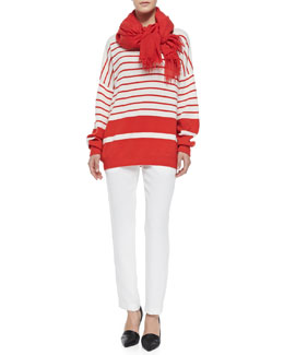 Vince Cashmere Banded Ribbed Sweater, Satin-Striped Tuxedo Trousers & Fringed Scarf