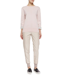 Vince Double-Face Crewneck Sweater & Knit-Cuff Leather Jogging Trousers