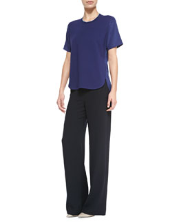 Vince Mixed-Media Trimmed Tee & Sailor-Button Wide-Leg Pants