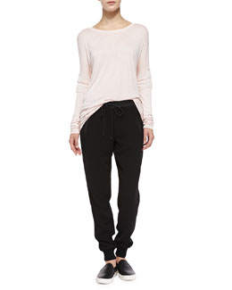 Vince Boat-Neck Tee W/ Mesh Inset Sleeves & Pull-On Drawstring Jogging Pants