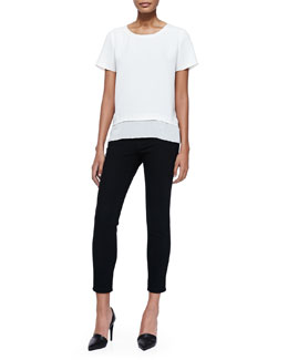 Vince Layered-Hem Tee & Mason Slim Cropped Jeans