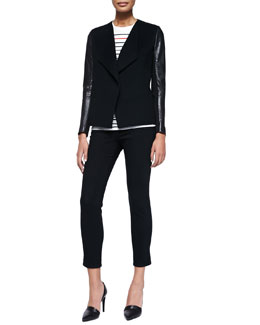 Vince Leather-Sleeve Draped Wool Jacket, Breton-Stripe Boy Tee & Mason Slim Cropped Jeans