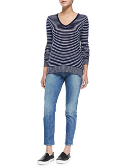 Vince Contrast-Trim Striped Knit Tee & Mason Slim Cropped Jeans