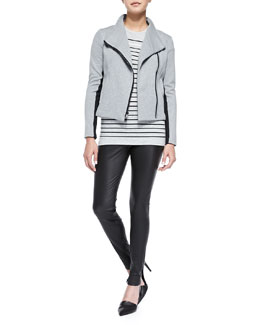 Vince Contrast-Trim Knit Scuba Jacket, Breton-Stripe Boy Tee & Smooth Leather Leggings