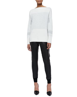 Vince Tonal Colorblock Knit Sweater & Knit-Cuff Leather Jogging Trousers
