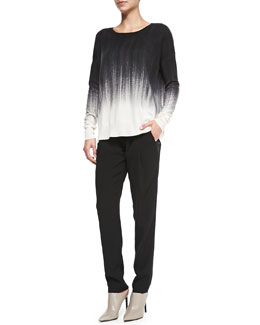 Vince Painted Ombre Knit Sweater & Satin-Striped Tuxedo Trousers