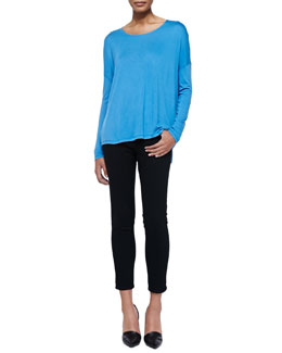 Vince Long-Sleeve Tee W/ Dropped Shoulders & Mason Slim Cropped Jeans