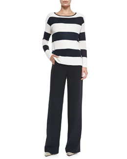 Vince Ottoman Wide-Stripe Knit Sweater & Sailor-Button Wide-Leg Pants