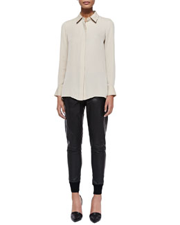 Vince Long-Sleeve Silk Blouse & Knit-Cuff Leather Jogging Trousers