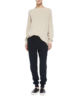 Vince Cashmere Rib-Trim Loose Sweater & Pull-On Drawstring Jogger Pants