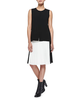 Vince Flyaway-Front Sleeveless Top & Pleated Georgette Colorblock Skirt