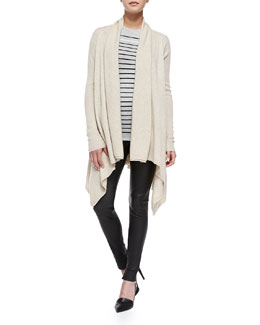 Vince Draped Open-Front Cardigan, Breton-Stripe Boy Tee & Smooth Leather Leggings