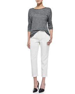 Vince Long-Sleeve Sweater with Piping & Cuffed Twill Cargo Pants