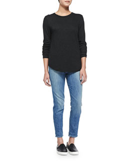Vince Long-Sleeve Basic Crewneck Top & Mason Slim Cropped Jeans