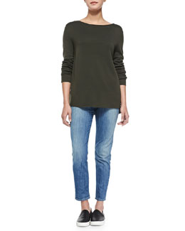 Vince Crepe-Back Knit Sweater & Mason Slim Cropped Jeans
