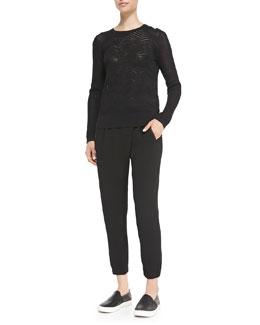 Vince Crewneck Zigzag Mesh Sweater & Leather-Trim Wrap-Waist Pants