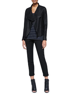 Vince Drape-Front Leather Jacket, Mixed-Stripe Linen Tank & Twill Cuffed Relaxed Pants