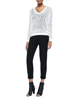 Vince Grid Mesh V-Neck Sweater & Twill Cuffed Relaxed Pants
