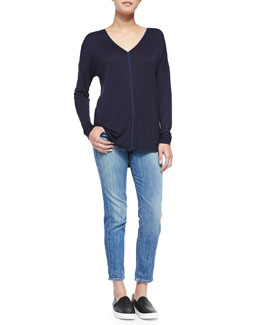 Vince Satin-Back Lightweight Knit Top & Mason Slim Cropped Jeans