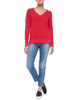 Vince Cashmere Ribbed V-Neck Sweater & Mason Slim Cropped Jeans