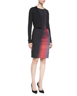 Elie Tahari Emory Sleeveless Abstract Ombre Sheath Dress & Whitney Cropped Cardigan Sweater with Crisscross Detail
