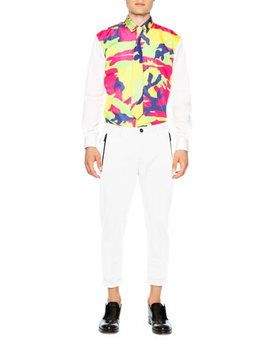 Multi-Color Camo Long Sleeve Shirt & Cropped Pants with Black Zip