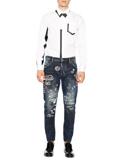 Long-Sleeve Poplin Shirt with Contrast Accents & Graffiti-Print Jeans