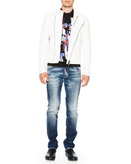 Asymmetrical Zip-Up Leather Moto Jacket & Abstract Graphic Short-Sleeve Tee & Paint-Splatter Slim-Fit Jeans