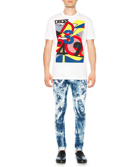 Pop Art-Inspired Graphic Tee & Bleached Paint-Splattered Skinny Jeans
