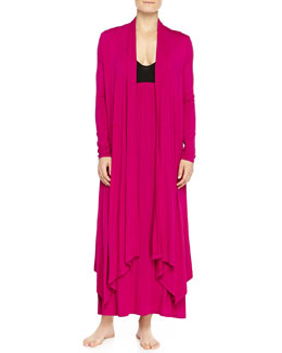 Liquid Jersey Wrap Robe & Long Gown, Fuchsia