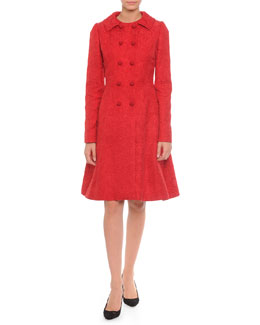 Dolce & Gabbana Floral-Jacquard Double-Breasted Jacket & Fit-And-Flare Dress, Red