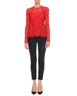 Dolce & Gabbana Jewel-Neck Long-Sleeve Lace Top & High-Waist Stretch-Wool Pants
