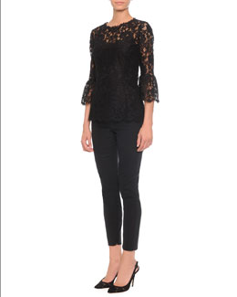 Dolce & Gabbana Floral-Lace Bell-Cuff Top & High-Waisted Stretch-Wool Pants