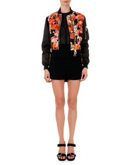 Floral-Print Oversize-Zip Cropped Jacket, Mesh-Knit Round-Neck Top & Banded-Waist A-Line Shorts