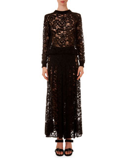 Crewneck Sheer Lace Top & Long Skirt