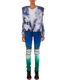 Tie-Dye Knit Moto Jacket, Button-Shoulder Metallic Logo Top & Slim-Fit Tie Dye Moto Jeans