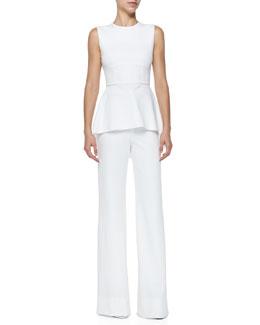 Oscar Jersey High-Low Peplum Top & Oscar Flat-Front Wide-Leg Pants, White